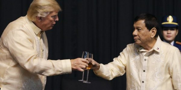 A toast to friendship: Trump and Duterte share a toast during ASEAN gala dinner