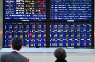 Pedestrians walk in front of an electronic stocks indicator showing the numbers on the Tokyo Stock Exchange in the window of a securities company in Tokyo on November 16, 2017. The benchmark Nikkei 225 index jumped 1.47 percent, or 322.80 points, to end at 22,351.12 in line with a broader Asian advance, as bargain-buyers moved in to help the market recover from a six-day losing streak. / AFP PHOTO / Toshifumi KITAMURA