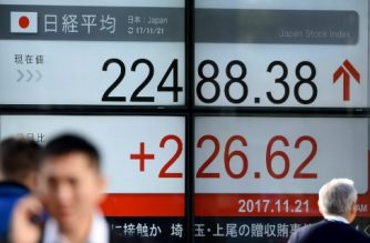 People walk past a stock quotation board flashing the numbers for the Nikkei 225 key index on the Tokyo Stock Exchange in front of a securities company in Tokyo on November 21, 2017. Tokyo stocks opened higher on November 21 following gains on Wall Street, as a weaker yen lifted exporters. / AFP PHOTO / Toru YAMANAKA