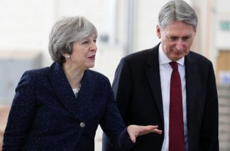 Britain's Prime Minister Theresa May and Britain's Chancellor of the Exchequer Philip Hammond visit to Leeds College of Building, a specialist further and higher education construction college, in Leeds, northern England, on November 23, 2017. UK economic growth rose in the third quarter thanks to consumer spending, official data showed Thursday, but the data is unlikely to push annual GDP above a gloomy government forecast, as poor productivity and Brexit cloud the outlook. / AFP PHOTO / POOL / Owen Humphreys