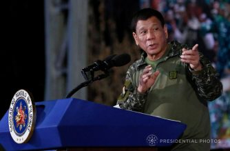 President Rodrigo Duterte speaks on Wednesday, Nov. 22, at the Fort Magsaysay in Nueva Ecija where he said that heads of states and military officials congratulated him for the government's campaign against the rebellion in Marawi.  (Photo courtesy Malacanang)