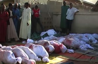 Victims of the mosque bombing in Nigeria on Tuesday, November 21, 2017.  At least 50 people were killed on Tuesday when a teenage suicide bomber blew himself up at a mosque in northeast Nigeria, police said, in an attack blamed on Boko Haram jihadists.  (Screenshot of AFPTV video)