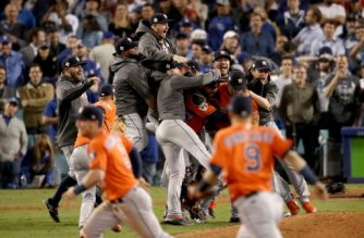 The Houston Astros celebrate defeating the Los Angeles Dodgers 5-1 in game seven to win the 2017 World Series at Dodger Stadium on November 1, 2017 in Los Angeles, California.   Christian Petersen/Getty Images/AFP