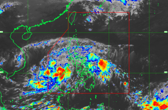 """Tropical Depression """"Tino"""" maintained its strength as it prepared to make landfall over Palawan on Friday./PAGASA/"""