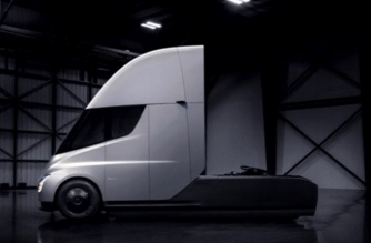 Digital still image rendering of the Tesla semi parked in a showroom / Reuters / Tesla Inc.
