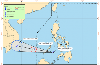 Tino's track according to the Philippine Atmospheric Geophysical and Astronomical Services Administration./PAGASA/