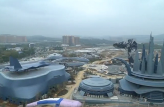 In the outskirts of Guiyang, the capital of one of China's poorest provinces, giant robots and futuristic cyberpunk castles rise out of the lush surrounding mountainscape -- a vision of what could be driving local economic growth in years to come.(photo grabbed from Reuters video)
