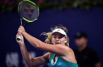 Coco Vandeweghe of the US hits a return against Julia Goerges of Germany during the women's singles final at the Zhuhai Elite Trophy tennis tournament in Zhuhai, in south China's Guangdong province on November 5, 2017. / AFP PHOTO / STR / China OUT