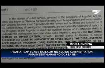 DOJ orders investigation of PDAF and DAP scam during Aquino Administration