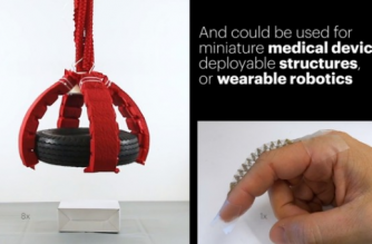 US researchers have developed strong origami-inspired artificial muscles that can allow soft robots to lift objects 1,000 times their own weight using only air or water pressure.(photo grabbed from Reuters video)