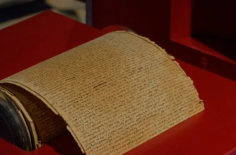 """A French nobleman, revolutionary politician and writer, Marquis De Sade's 12-metre-long manuscript of """"Les 120 Jours De Sodome Ou L'ecole Du Libertinage"""" (""""The 120 Days Of Sodom, Or The School Of Libertinage, 1785) (From Reuters video)"""