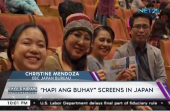 Viewers cheerfully pose with their tickets as they wait for the screening of 'Hapi Ang Buhay' on November 26,2017 at Itabashi Culture Hall, Tokyo, Japan.