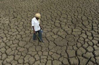 An Indian shepherd walks on the bed of the dried up Osman Sagar Lake, commonly known as Gandipet, on the outskirts of Hyderabad on March 4, 2016.  The Osman Sagar lake, one of the principal sources of drinking water in the southern Indian state of Telangana, has almost dried up completely as temperatures rise with the onset of summer across the Indian subcontinent.  / AFP PHOTO / NOAH SEELAM