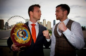 World Boxing Organization title holder Jeff Horn (L) of Australia and Gary Corcoran (R) of Britain attend a press conference at Brisbane Convention Centre on October 23, 2017. Horn will defend his WBO World welterweight title for the first time when he takes on Corcoran on December 13.  / AFP PHOTO / Patrick HAMILTON / -- IMAGE RESTRICTED TO EDITORIAL USE - STRICTLY NO COMMERCIAL USE --