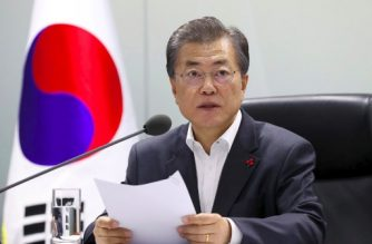 South Korea's President Moon Jae-In presides over an emergency meeting with National Security Council members at the presidential Blue House in Seoul on November 29, 2017 following a new North Korean missile test. North Korea test fired an intercontinental ballistic missile on November 29, in a major challenge to US President Donald Trump after he slapped fresh sanctions on Pyongyang and declared it a state sponsor of terrorism. / AFP PHOTO / YONHAP / - /  - South Korea OUT / REPUBLIC OF KOREA OUT  NO ARCHIVES  RESTRICTED TO SUBSCRIPTION USE