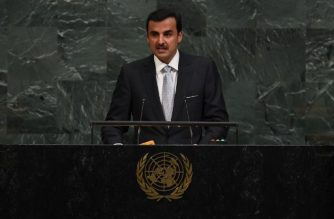 (FILES) This file photo taken on September 19, 2017 shows Sheikh Tamim bin Hamad Al-Thani, Amir of the State of Qatar, addressing the United Nations General Assembly at the United Nations in New York. Qatar's Emir Sheikh Tamim will attend a crucial summit of the Gulf Cooperation Council this coming week, Doha's foreign minister said on December 3, 2017. / AFP PHOTO / TIMOTHY A. CLARY