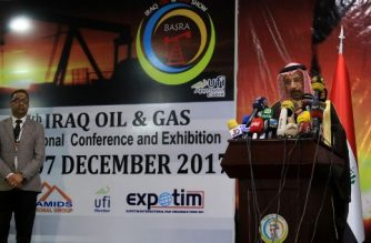 Saudi Energy and Oil Minister Khalid Al-Falih speaks at a press conference during the 7th Iraq Oil and Gas Show, in the southern city of Basra on December 4, 2017. / AFP PHOTO / HAIDAR MOHAMMED ALI