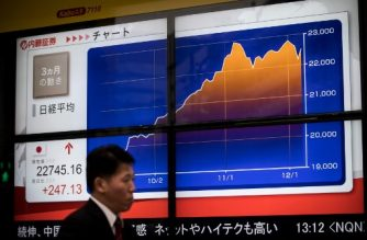 A man walks past a stock quotation board flashing the Nikkei 225 key index of the Tokyo Stock Exchange in Tokyo on December 8, 2017.  Tokyo stocks opened higher on December 8, tracking gains on Wall Street as the yen remained cheaper against the dollar, and a large upwards revision to Japan's latest growth figures boosted the market. / AFP PHOTO / Behrouz MEHRI