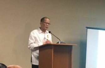Former President Benigno Aquino III holds a press conference after attending the Senate blue ribbon committee's hearing on the Dengvaxia mess on Thursday, December 15, 2017. /Meanne Corvera/Eagle News Service/