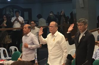 Former President Benigno Aquino III (C), his Budget Secretary Butch Abad (leftmost) and Executive Secretary Paquito Ochoa (rightmost) taking their oath in Thursday's Senate hearing on the Dengvaxia mess./Meanne Corvera/Eagle News Service/