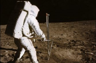 (FILES) This file photo taken on July 21, 1969 shows a photo taken by astronaut Neil A. Armstrong of the astronaut Edwin E. Aldrin conducting experiment on the moon's surface, during the Apollo XI space mission. / AFP PHOTO / NASA