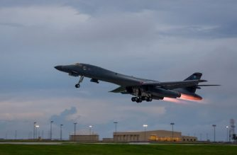 """In this US Air Force image obtained from the US Defense Department, a US Air Force B-1B Lancers takes off from Andersen Air Force Base, Guam, to fly sequenced bilateral missions with two Japan Air Self-Defense Force (JASDF) F-15s and two Republic of Korea air force (ROKAF) F-15Ks in the vicinity of the Sea of Japan on October 10, 2017.  The US flies two supersonic heavy bombers over the Korean peninsula in a fresh show of force against North Korea's nuclear and missile threats. / AFP PHOTO / US AIR FORCE / Joshua SMOOT / RESTRICTED TO EDITORIAL USE - MANDATORY CREDIT """"AFP PHOTO / US AIR FORCE / Staff Sgt. Joshua Smoot"""" - NO MARKETING NO ADVERTISING CAMPAIGNS - DISTRIBUTED AS A SERVICE TO CLIENTS"""
