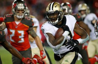 Running back Alvin Kamara #41 of the New Orleans Saints runs for a first down during the fourth quarter of an NFL football game against the Tampa Bay Buccaneers Photo Courtesy of AFP.