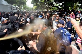 (FILES) This file photo taken on April 15, 2017 shows a man being  sprayed with a chemical irritant as multiple fights break out between Trump supporters and anti-Trump protesters in Berkeley, California.  Protest is deeply-rooted in the California student city of Berkeley. Now, in the face of an immigration crackdown since President Donald Trump took office one year ago, the city across the bay from San Francisco is resisting again.  / AFP PHOTO / Josh Edelson