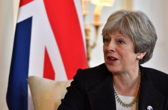 Britain's Prime Minister Theresa May speaks during a meeting with Estonia's Prime Minister Juri Ratas in 10 Downing street in central London on January 30, 2018. / AFP PHOTO / POOL / Ben STANSALL