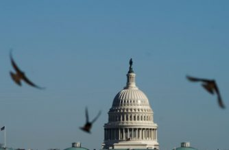 "Birds fly in front of the dome of the US Capitol as the deadline for the government shutdown looms in Washington, DC on January 19, 2018. Hopes of averting a US government shutdown were boosted Friday after the Senate's top Democrat said he and President Donald Trump had ""made some progress"" on breaking an impasse over spending in 11th hour talks.But Senator Chuck Schumer admitted that a ""good number of disagreements"" remain between his party and Trump's Republicans, as the clock ticked towards a midnight deadline.  / AFP PHOTO / Mandel NGAN"