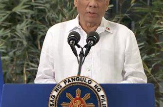 President Rodrigo Duterte makes his speech at the Ninoy Aquino International Airport Terminal 2 prior to his departure for India on Wednesday, January 23, 2018. /RTVM video/