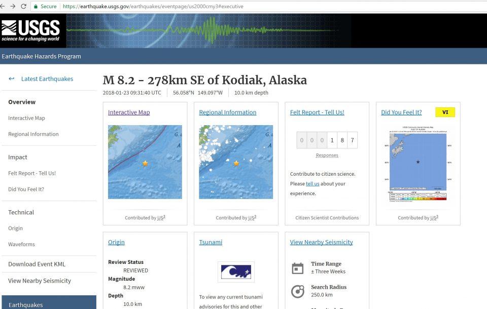 Magnitude 8 2 Quake Strikes Southeast Of Kodiak Alaska
