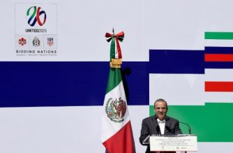 (File photo) Mexican Interior minister, Alfonso Navarrete Prida, speaks during the ceremony in which the Federal Government granted guarantees to support Mexico's joint bid for the 2026 FIFA World Cup, at the Azteca stadium in Mexico City on February 16, 2018.  The United States, Mexico and Canada announced a joint bid to stage the 2026 World Cup on Monday, aiming to become the first three-way co-hosts in the history of FIFA's showpiece tournament.  / AFP PHOTO / ALFREDO ESTRELLA