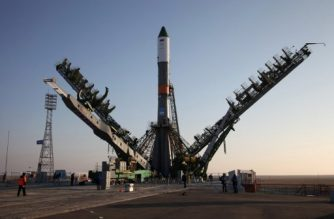"(FILES) This handout photo taken and released by Roscosmos space agency on November 29, 2016 shows service towers moving towards the Soyuz-U carrier rocket with the cargo ship Progress MS-04 lifted on the launch pad at the Russian-leased Baikonur cosmodrome in Kazakhstan. Russian space agency Roscosmos rescheduled the launch of a Soyuz rocket carrying a Progress space freighter to Febuary 13, 2018 after news agencies reported a launch was aborted at the last minute on February 11, 2018. / AFP PHOTO / Roscosmos space agency / - / RESTRICTED TO EDITORIAL USE - MANDATORY CREDIT ""AFP PHOTO / ROSCOSMOS"" - NO MARKETING NO ADVERTISING CAMPAIGNS - DISTRIBUTED AS A SERVICE TO CLIENTS"
