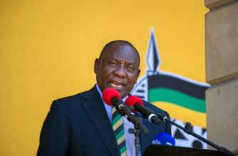 "South African Deputy President and newly-elected president of the ruling African National Congress (ANC), Cyril Ramaphosa speaks during a rally on February 11, 2018 in Cape Town, from the same spot where exactly 28 years before, Nelson Mandela had first addressed South Africans, after being released from a 27 year jail term.  South Africa's president-in-waiting Cyril Ramaphosa admitted February 11 to ""disunity and discord"" in the ruling ANC party as the deadlocked effort to oust scandal-tainted leader Jacob Zuma grinds on. With Zuma refusing a party request to resign, the African National Congress (ANC) top decision-making committee will meet on February 12.   / AFP PHOTO / RODGER BOSCH"
