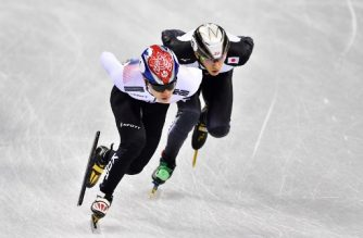 (FILES) This file photo taken on February 10, 2018 shows South Korea's Seo Yira (L) and Japan's Kei Saito taking part in the men's 1,500m short track speed skating heat event during the Pyeongchang 2018 Winter Olympic Games in Gangneung. Japanese short-track speed skater Kei Saito has tested positive for doping at the Pyeongchang Olympic Games, Kyodo news agency said late on February 12, 2018, citing multiple sources. / AFP PHOTO / Mladen ANTONOV