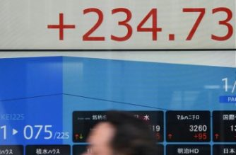A pedestrian walks past an electronic stocks indicator in the window of a securities company in Tokyo on February 16, 2018. The benchmark Nikkei 225 index edged up 1.09 percent, or 234.73 points, to 21,699.71 at the lunch break on February 16, while the broader Topix index was up 1.13 percent, or 19.45 points, at 1,738.72. / AFP PHOTO / Toshifumi KITAMURA