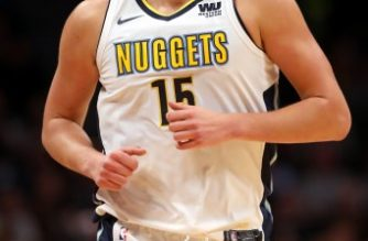 DENVER, CO - OCTOBER 10: Nikola Jokic #15 of the Denver Nuggets plays the Oklahoma City Thunder at the Pepsi Center on October 10, 2017 in Denver, Colorado.   Matthew Stockman/Getty Images/AFP