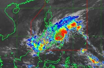 """Tropical Storm """"Basyang"""" made landfall over Cortes, Surigao del Sur on Tuesday morning./PAGASA/"""