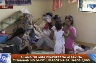 Bilang ng mga evacuee sa Albay na tinamaan ng sakit, umabot na sa halos 6,000