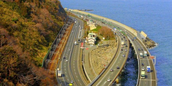 #EBCphotography:  Highway by Suruga Bay overlooking Mt. Fuji