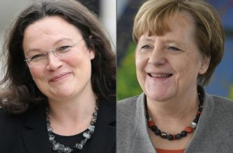 (COMBO) This combination of pictures created on February 14, 2018 shows German Labour and Social Minister Andrea Nahles (L, July 1, 2017 in Speyer) and German Chancellor Angela Merkel (February 9, 2018 in Berlin). For the first time in Germany, the country's two biggest parties will be led by women, after Germany's chaos-wracked Social Democrats have named Andrea Nahles as their designated next leader on February 13, 2018, shifting a long-skewed gender balance in politics.  / AFP PHOTO / Daniel ROLAND AND John MACDOUGALL