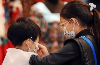 A boy (L) gets help from his sister in adjusting his protective mask in a shop in Hong Kong on March 13, 2008 amidst a flu outbreak in schools in scenes reminiscent of the SARS outbreak in 2003.  Hong Kong education and health officials late on March 12 ordered all primary schools and kindergartens to close for two weeks amid a flu outbreak. Health secretary Chow said the move was a precautionary measure against the spread of influenza in schools.   AFP PHOTO / LAURENT FIEVET / AFP PHOTO / LAURENT FIEVET