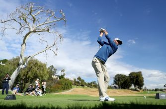 Dustin Johnson competes during the Pro-Am of the Genesis Open at the Riviera Country Club on February 14, 2018 in Pacific Palisades, California.   Warren Little/Getty Images/AFP