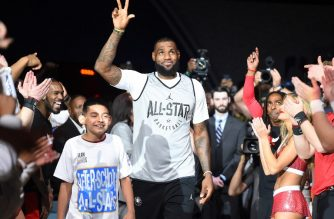 LeBron James #23 of Team LeBron is introduced for for the upcoming 2018 NBA All-Star game during practice at the Verizon Up Arena at LACC on February 17, 2018 in Los Angeles, California.   Jayne Kamin-Oncea/Getty Images/AFP