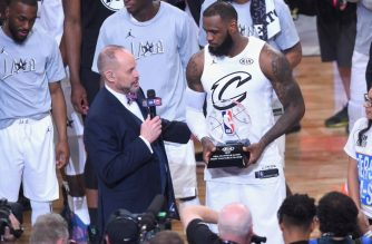 LeBron James #23 accepts the MVP award from TNT sportscaster Ernie Johnson Jr. during the NBA All-Star Game 2018 at Staples Center on February 18, 2018 in Los Angeles, California.   Jayne Kamin-Oncea/Getty Images/AFP