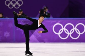 USA's Nathan Chen competes in the men's single skating free skating of the figure skating event during the Pyeongchang 2018 Winter Olympic Games at the Gangneung Ice Arena in Gangneung on February 17, 2018. / AFP PHOTO / ARIS MESSINIS