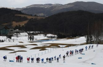 Athletes compete in the men's 15km + 15km cross-country skiathlon at the Alpensia cross country ski centre during the Pyeongchang 2018 Winter Olympic Games on February 11, 2018 in Pyeongchang.  / AFP PHOTO / FRANCK FIFE