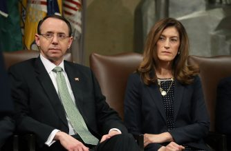 (FILES) This file photo taken on February 01, 2018 shows Deputy US Attorney General Rod Rosenstein (L) and Associate Attorney General Rachel Brand during a summit to discuss efforts to combat human trafficking at the Justice Department in Washington, DC.    Rachel Brand , the third-ranking official at the US Justice Department is resigning just nine months after taking the powerful position, the New York Times reported Friday, February 9, 2018.  The resignation of Brand, a national security law expert, comes as President Donald Trump and Republican legislators have stepped up attacks on the department over special prosecutor Robert Mueller's investigation of possible Trump campaign links to Russian interference in the 2016 election. / AFP PHOTO / GETTY IMAGES NORTH AMERICA / MARK WILSON
