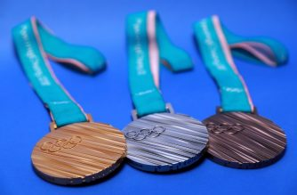 PARK CITY, UT - SEPTEMBER 25: The PyeonChang 2018 gold, silver and bronze medals are seen during the Team USA Media Summit ahead of the PyeongChang 2018 Olympic Winter Games on September 25, 2017 in Park City, Utah.   Tom Pennington/Getty Images/AFP